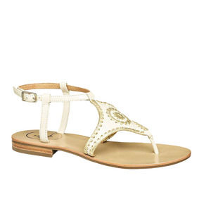Jack Rogers | Maci Flat Sandals Whipstitch White